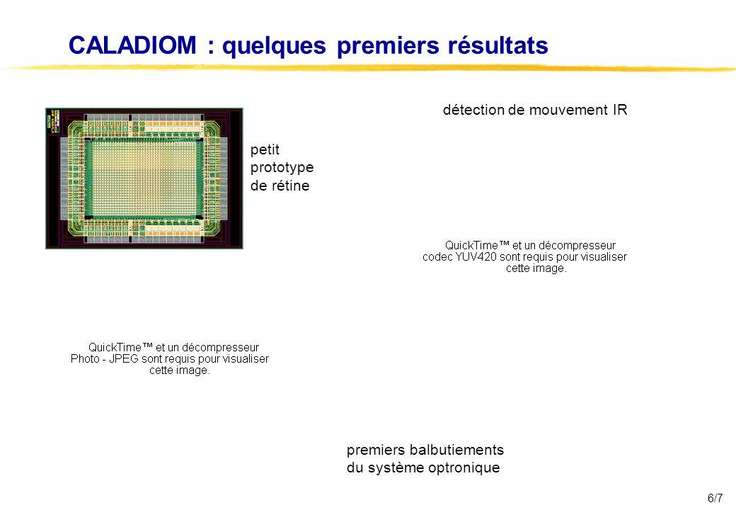 6/7 CALADIOM : quelques premiers résultats petit prototype de rétine détection de mouvement IR premiers balbutiements du système optronique