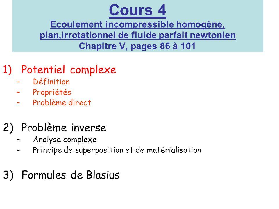 Cours 4 Ecoulement incompressible homogène, plan,irrotationnel de fluide parfait newtonien Chapitre V, pages 86 à 101 1)Potentiel complexe –Définition