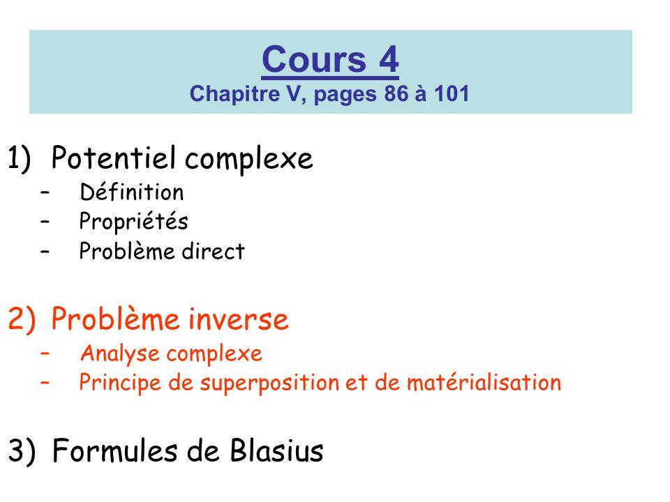 Cours 4 Chapitre V, pages 86 à 101 1)Potentiel complexe –Définition –Propriétés –Problème direct 2)Problème inverse –Analyse complexe –Principe de sup