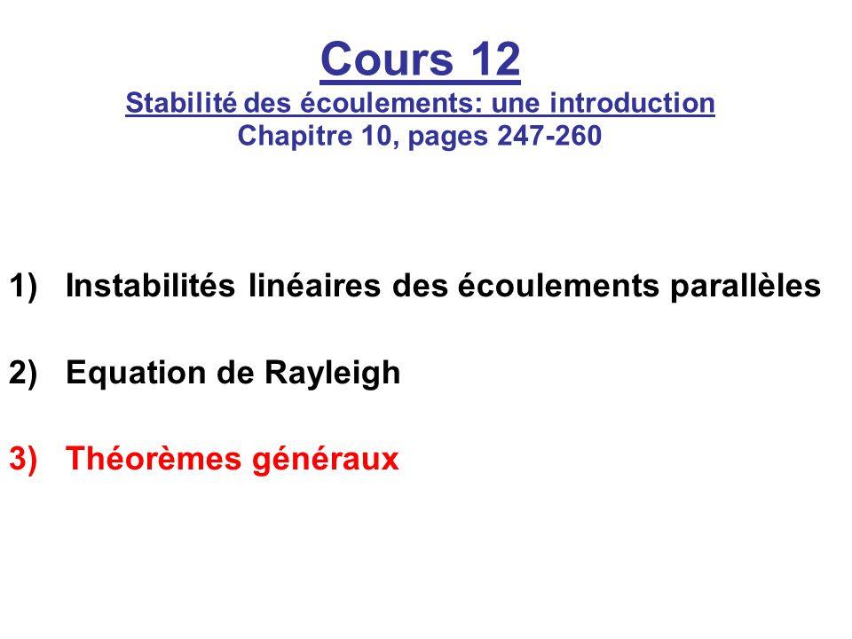 Cours 12 Stabilité des écoulements: une introduction Chapitre 10, pages 247-260 1)Instabilités linéaires des écoulements parallèles 2)Equation de Rayl
