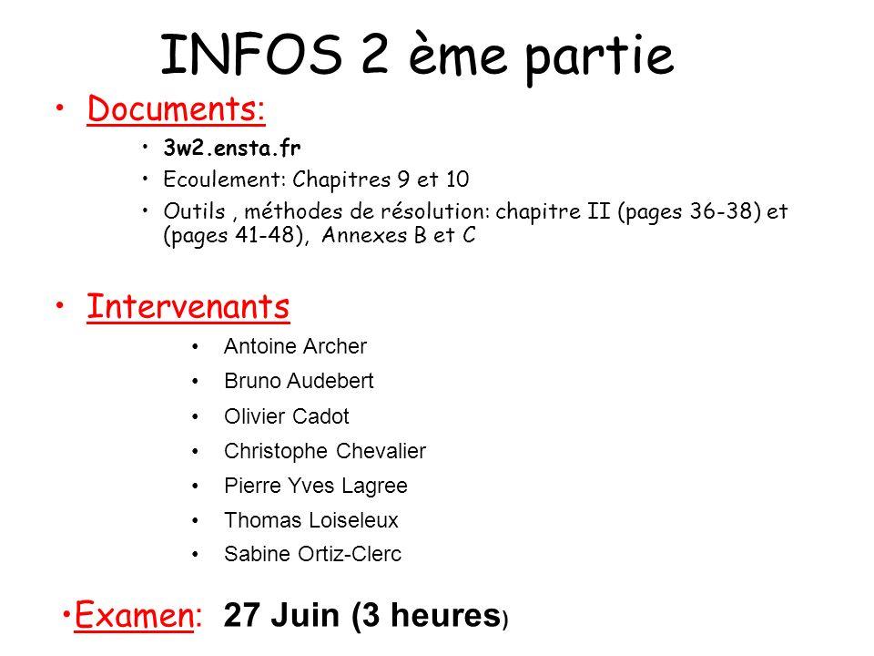 INFOS 2 ème partie Documents : 3w2.ensta.fr Ecoulement: Chapitres 9 et 10 Outils, méthodes de résolution: chapitre II (pages 36-38) et (pages 41-48),