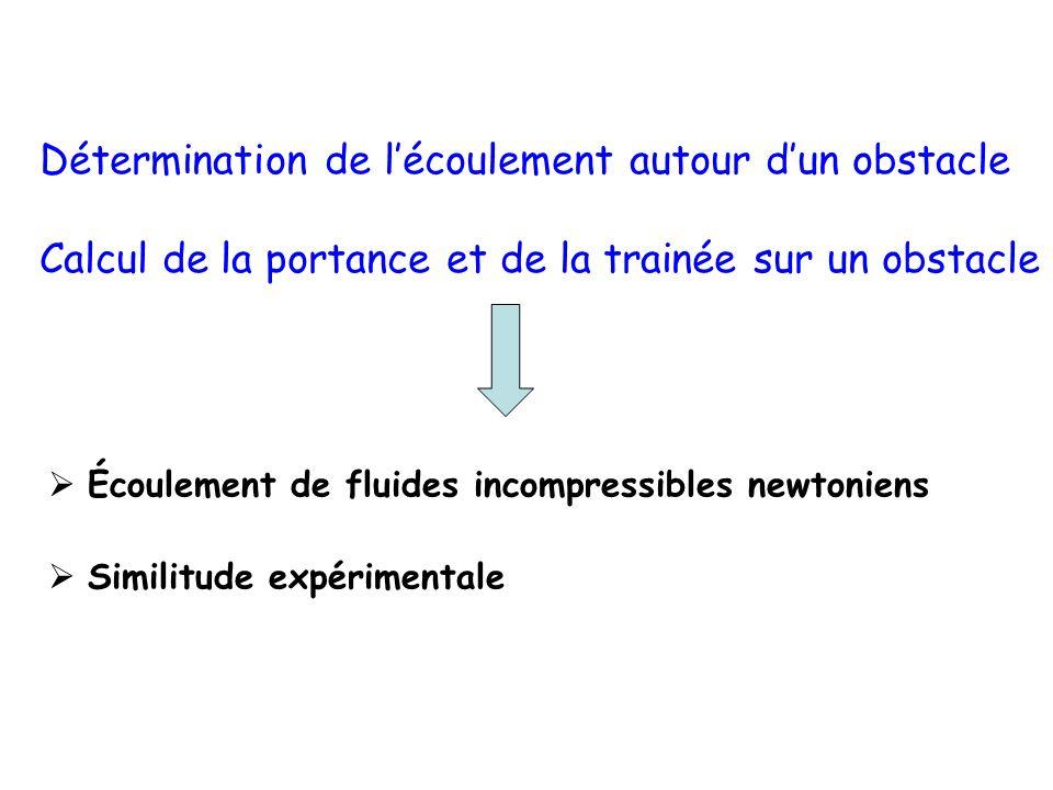 Écoulement de fluides incompressibles newtoniens Similitude expérimentale Détermination de lécoulement autour dun obstacle Calcul de la portance et de
