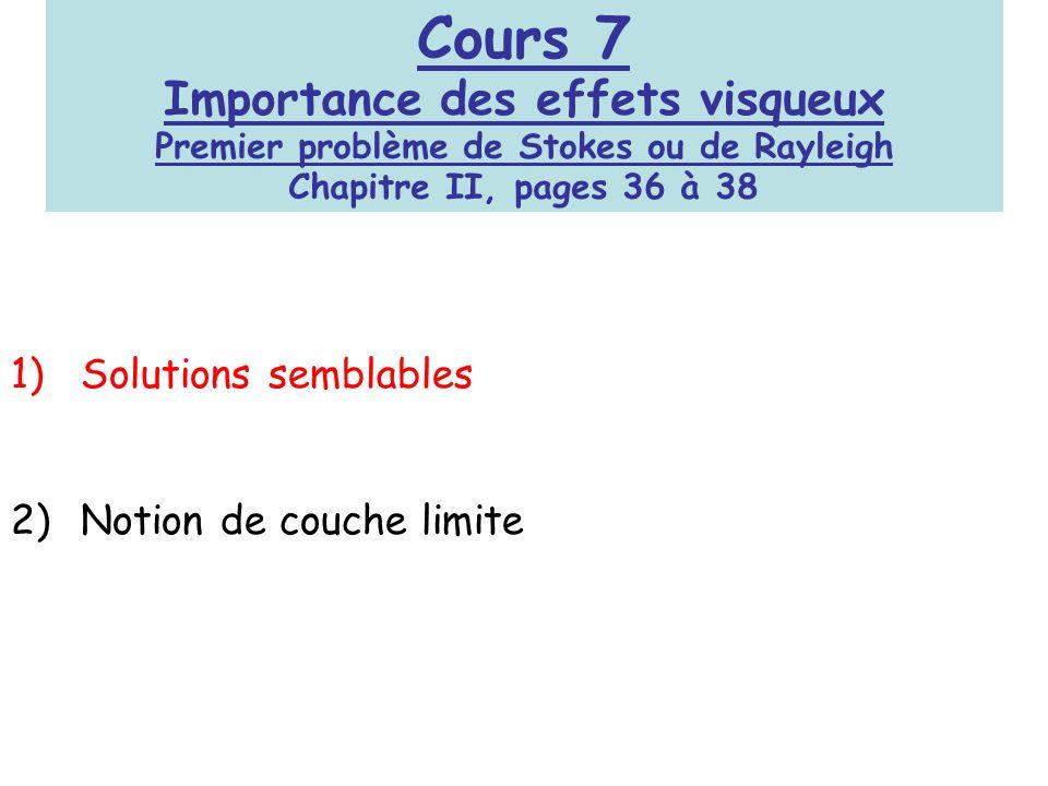 Cours 7 Importance des effets visqueux Premier problème de Stokes ou de Rayleigh Chapitre II, pages 36 à 38 1)Solutions semblables 2)Notion de couche