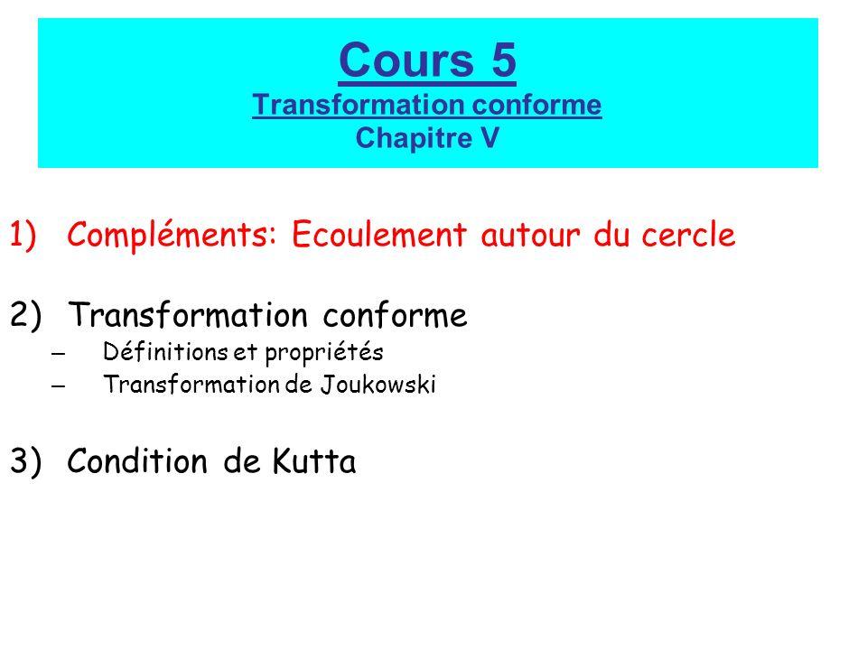 Cours 5 Transformation conforme Chapitre V 1)Compléments: Ecoulement autour du cercle 2)Transformation conforme – Définitions et propriétés – Transformation de Joukowski 3)Condition de Kutta