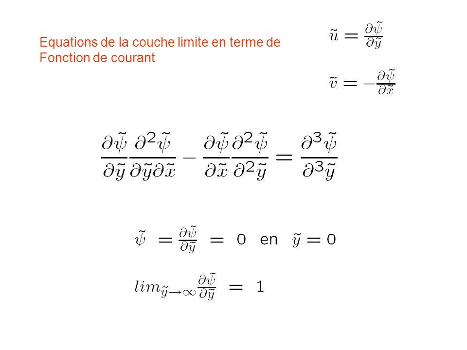 Equations de la couche limite en terme de Fonction de courant