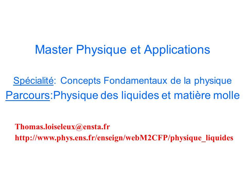 Master Physique et Applications Spécialité: Concepts Fondamentaux de la physique Parcours:Physique des liquides et matière molle Thomas.loiseleux@ensta.fr http://www.phys.ens.fr/enseign/webM2CFP/physique_liquides