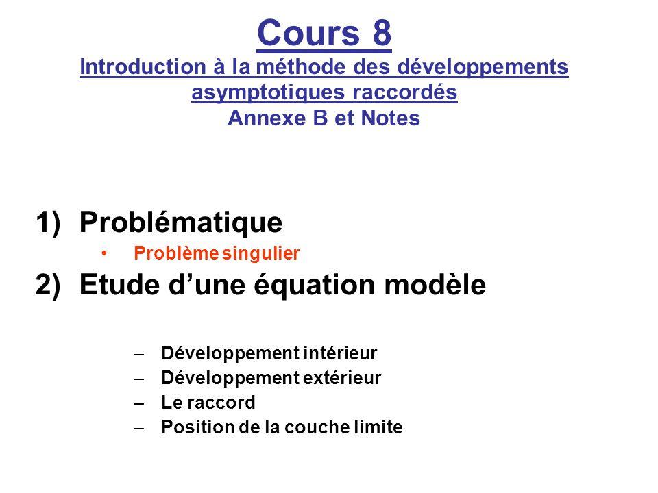 Cours 8 Introduction à la méthode des développements asymptotiques raccordés Annexe B et Notes 1)Problématique Problème singulier 2)Etude dune équatio