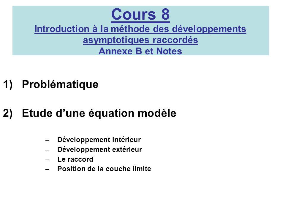 Cours 8 Introduction à la méthode des développements asymptotiques raccordés Annexe B et Notes 1)Problématique 2)Etude dune équation modèle –Développe