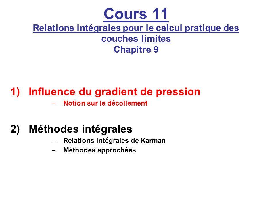 Cours 11 Relations intégrales pour le calcul pratique des couches limites Chapitre 9 1)Influence du gradient de pression –Notion sur le décollement 2)