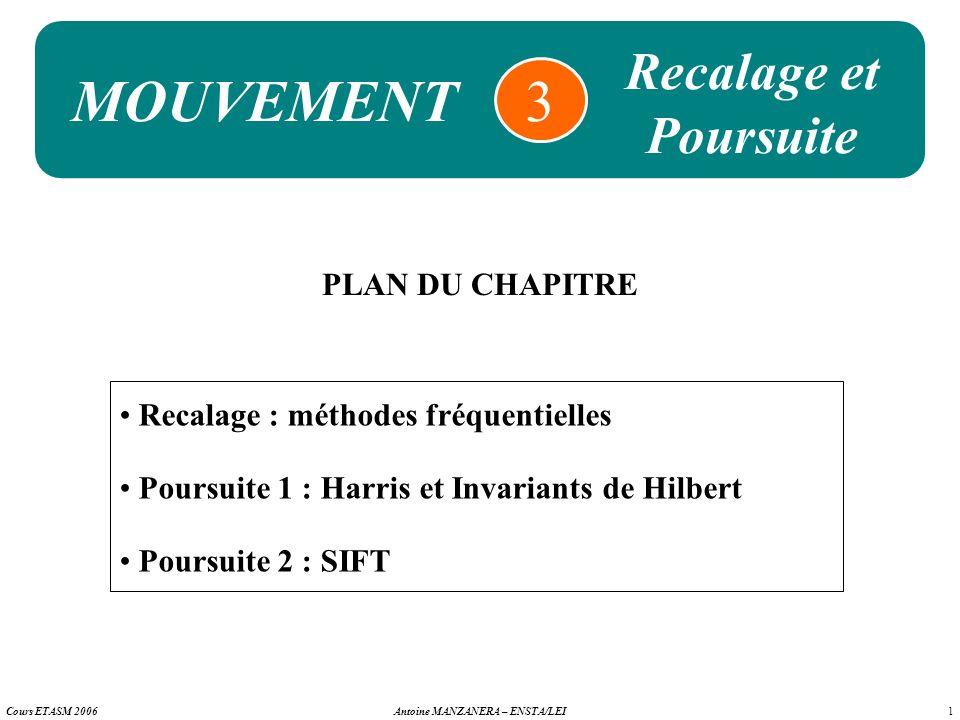 1 Antoine MANZANERA – ENSTA/LEICours ETASM 2006 MOUVEMENT 3 PLAN DU CHAPITRE Recalage : méthodes fréquentielles Poursuite 1 : Harris et Invariants de
