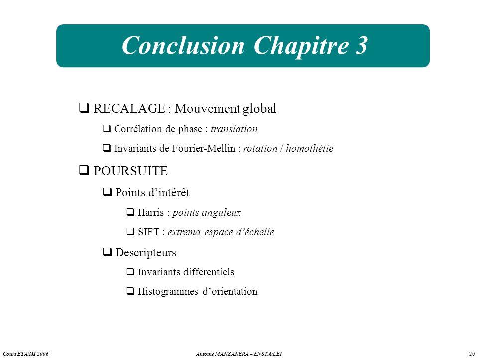 20 Antoine MANZANERA – ENSTA/LEICours ETASM 2006 Conclusion Chapitre 3 RECALAGE : Mouvement global Corrélation de phase : translation Invariants de Fo