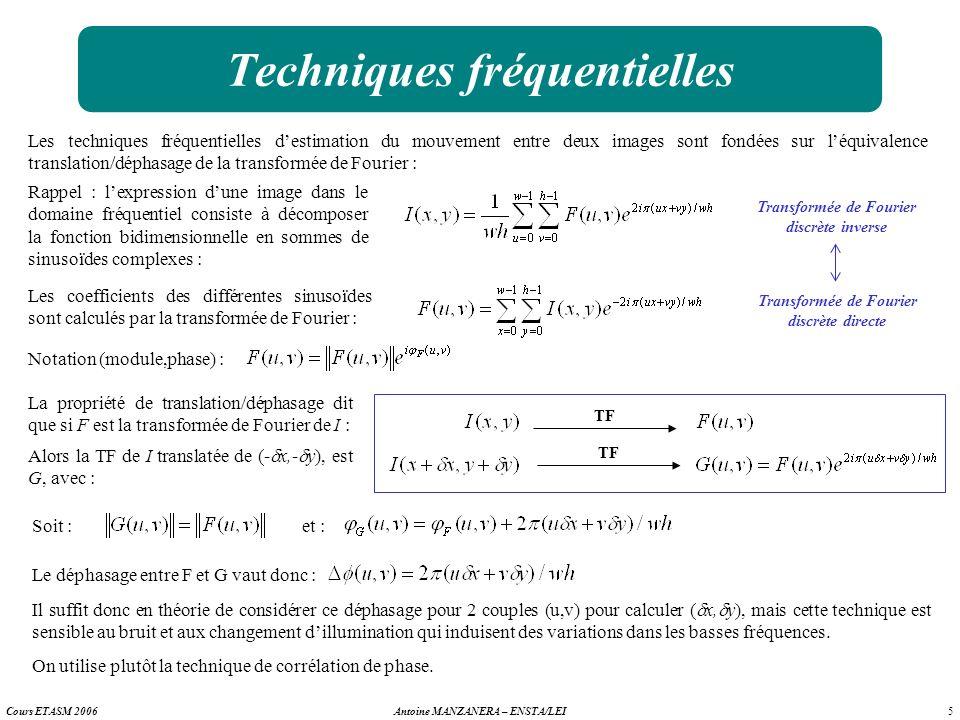 5 Antoine MANZANERA – ENSTA/LEICours ETASM 2006 Techniques fréquentielles Les techniques fréquentielles destimation du mouvement entre deux images son