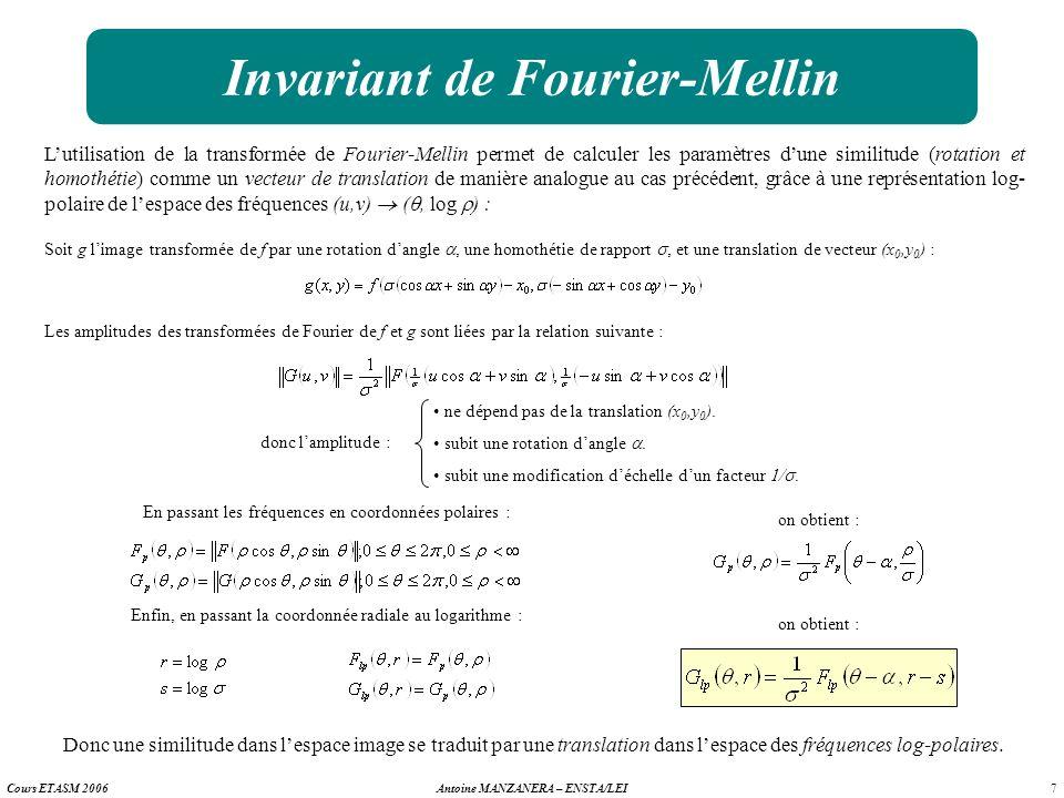 7 Antoine MANZANERA – ENSTA/LEICours ETASM 2006 Invariant de Fourier-Mellin Lutilisation de la transformée de Fourier-Mellin permet de calculer les pa