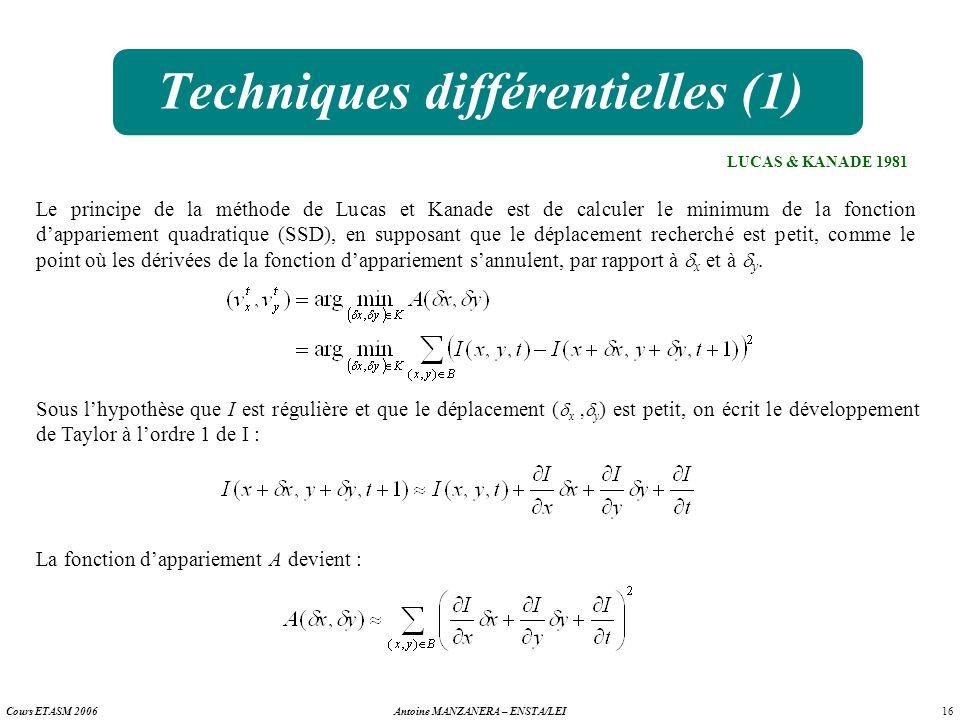 16 Antoine MANZANERA – ENSTA/LEICours ETASM 2006 Techniques différentielles (1) LUCAS & KANADE 1981 Le principe de la méthode de Lucas et Kanade est d