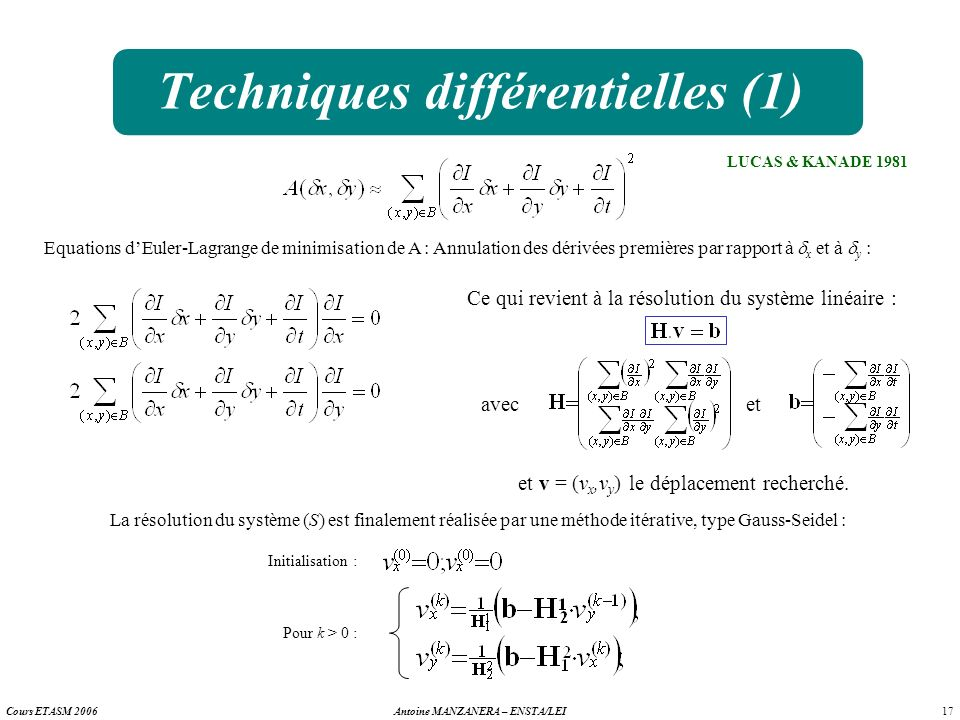 17 Antoine MANZANERA – ENSTA/LEICours ETASM 2006 Techniques différentielles (1) LUCAS & KANADE 1981 Equations dEuler-Lagrange de minimisation de A : A