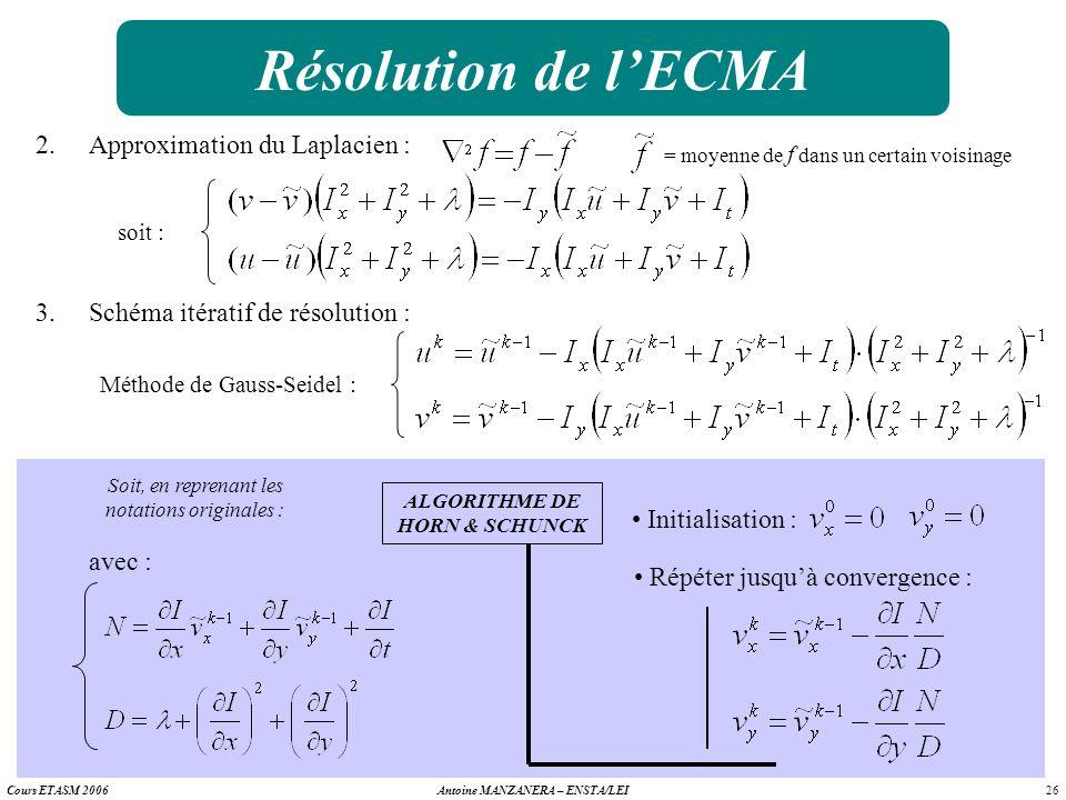 26 Antoine MANZANERA – ENSTA/LEICours ETASM 2006 Résolution de lECMA 2.Approximation du Laplacien : = moyenne de f dans un certain voisinage soit : 3.
