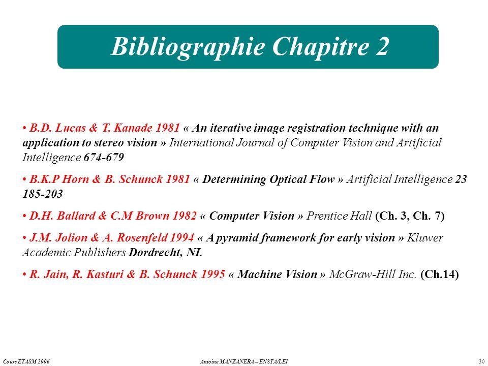 30 Antoine MANZANERA – ENSTA/LEICours ETASM 2006 Bibliographie Chapitre 2 B.D. Lucas & T. Kanade 1981 « An iterative image registration technique with