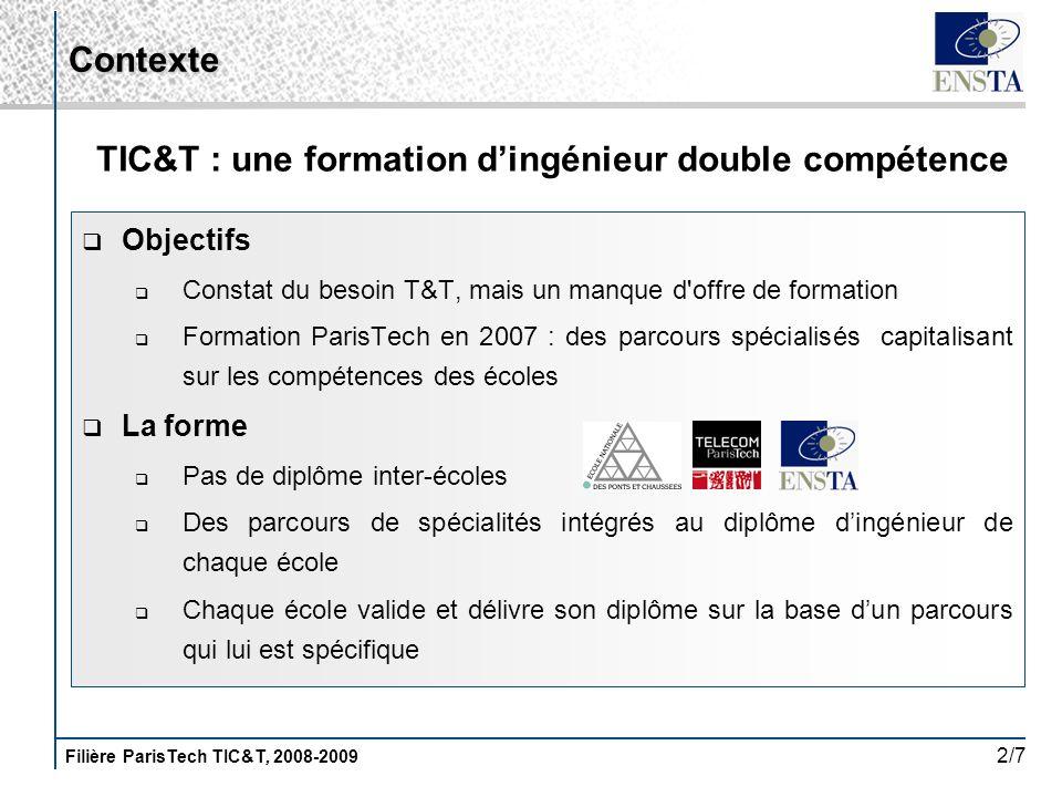 Filière ParisTech TIC&T, 2008-2009 2/7 Objectifs Constat du besoin T&T, mais un manque d'offre de formation Formation ParisTech en 2007 : des parcours
