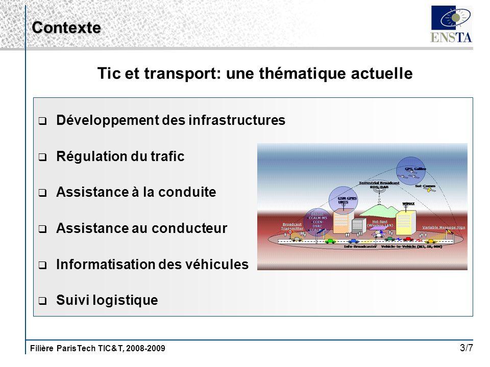 Filière ParisTech TIC&T, 2008-2009 3/7 Développement des infrastructures Régulation du trafic Assistance à la conduite Assistance au conducteur Inform