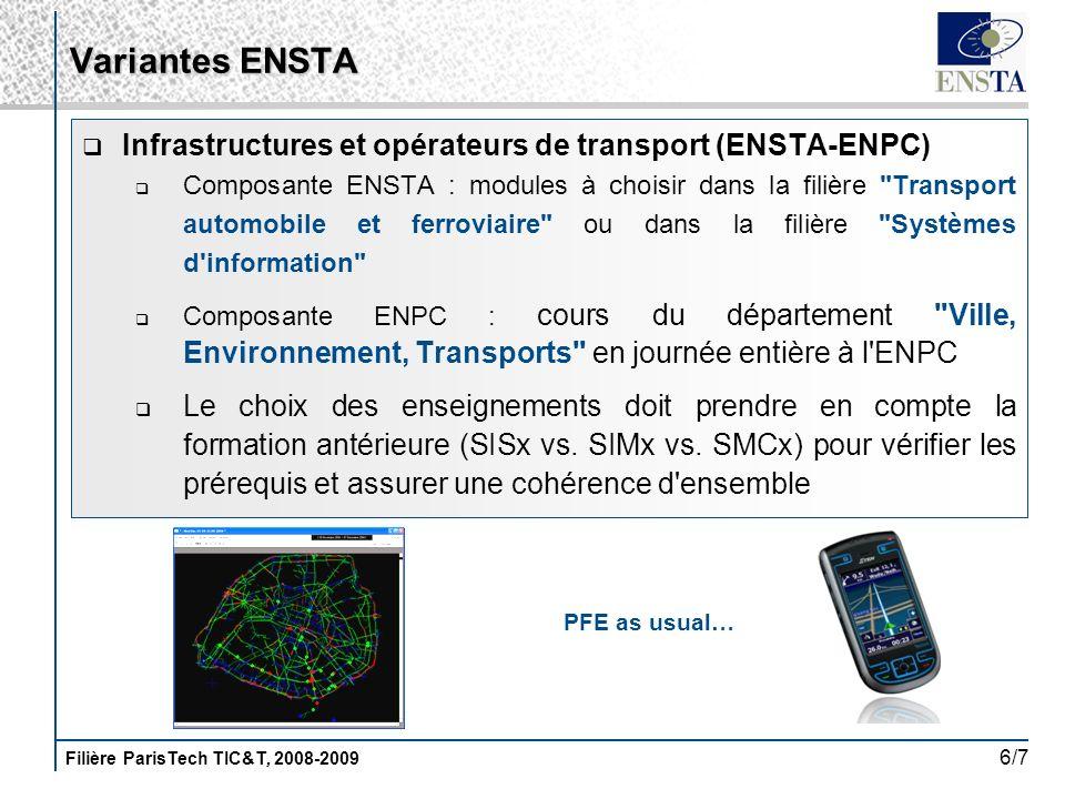 Filière ParisTech TIC&T, 2008-2009 6/7 Infrastructures et opérateurs de transport (ENSTA-ENPC) Composante ENSTA : modules à choisir dans la filière