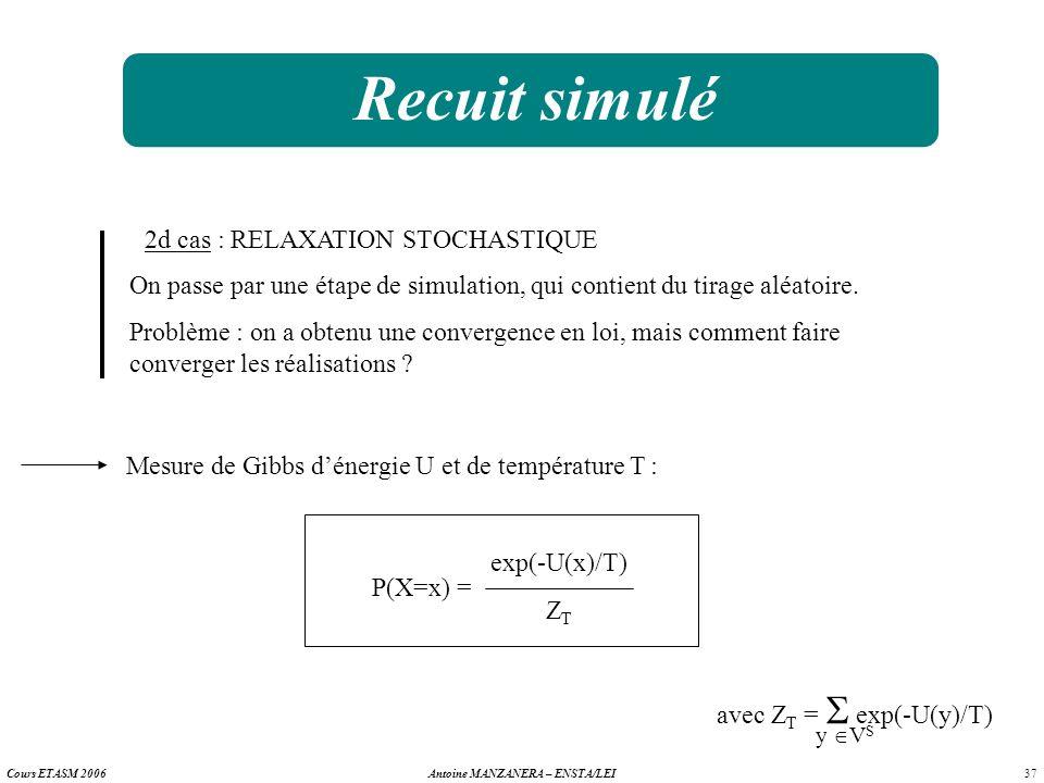 37 Antoine MANZANERA – ENSTA/LEICours ETASM 2006 Recuit simulé 2d cas : RELAXATION STOCHASTIQUE On passe par une étape de simulation, qui contient du