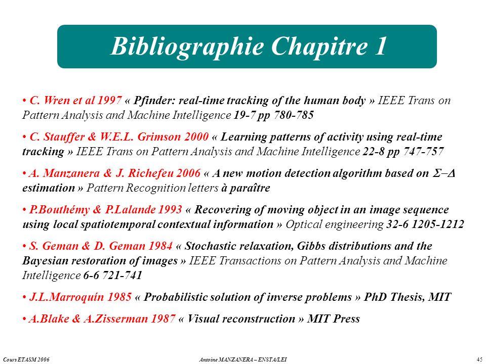 45 Antoine MANZANERA – ENSTA/LEICours ETASM 2006 Bibliographie Chapitre 1 C. Wren et al 1997 « Pfinder: real-time tracking of the human body » IEEE Tr
