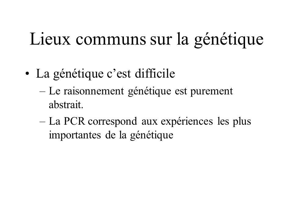 Lieux communs sur la génétique La génétique cest difficile –Le raisonnement génétique est purement abstrait. –La PCR correspond aux expériences les pl