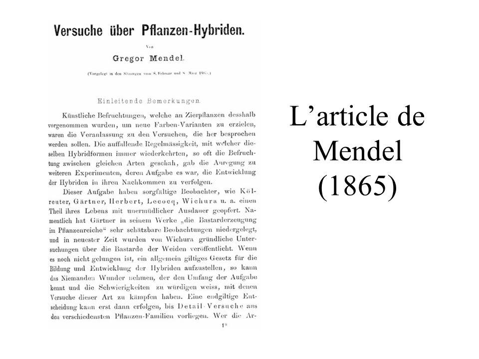 Larticle de Mendel (1865)