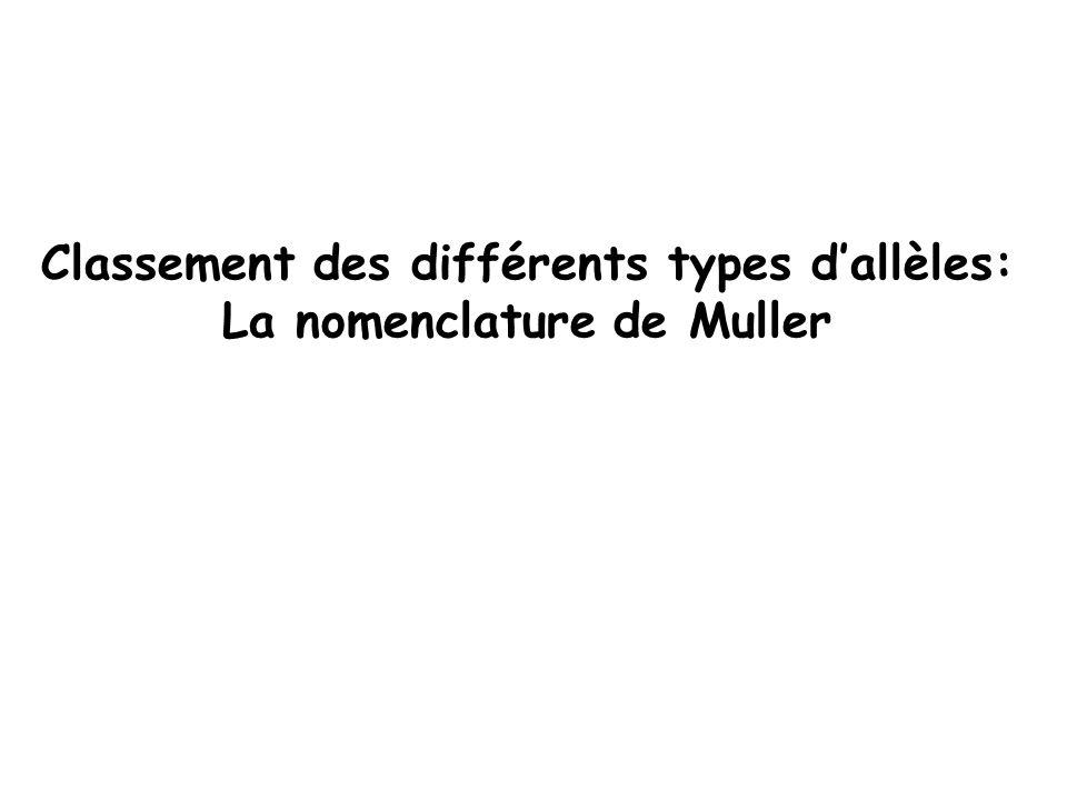 Classement des différents types dallèles: La nomenclature de Muller