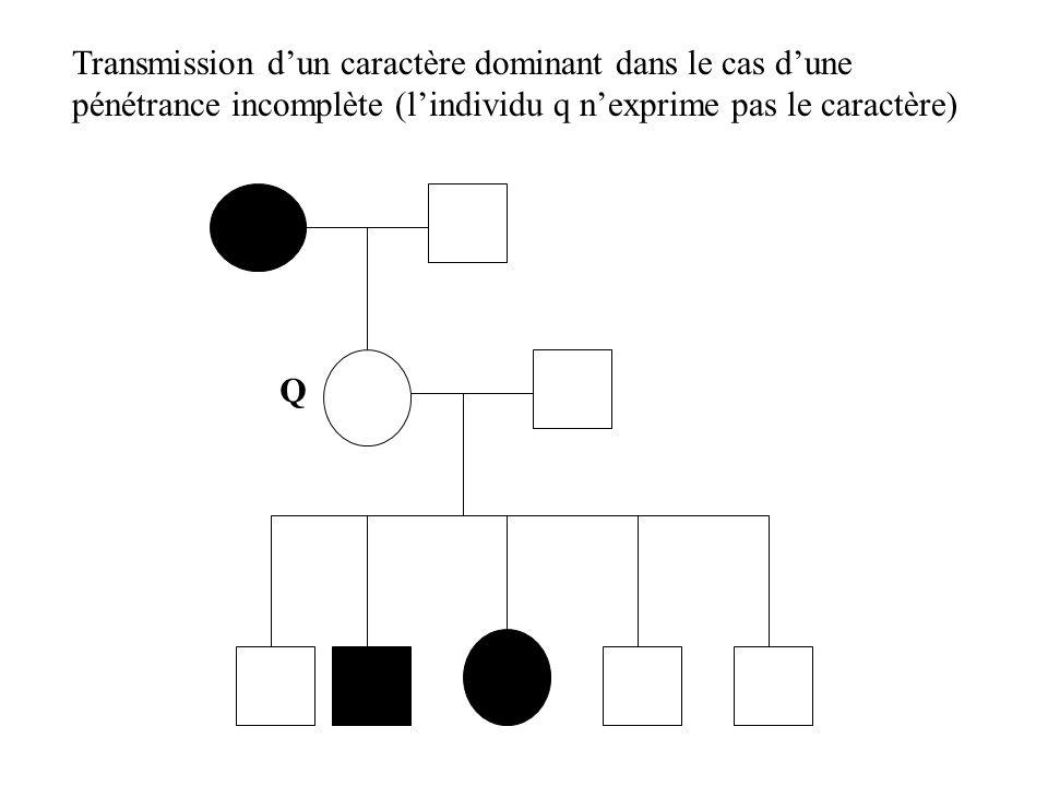 Transmission dun caractère dominant dans le cas dune pénétrance incomplète (lindividu q nexprime pas le caractère) Q
