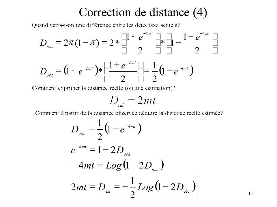 11 Correction de distance (4) Quand verra-t-on une différence entre les deux taxa actuels mt obs e e eD 4 2 2 1 2 1 2 1 1 - mt obs ee D 22 2 1 1 2 1 2