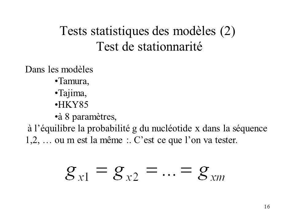 16 Tests statistiques des modèles (2) Test de stationnarité Dans les modèles Tamura, Tajima, HKY85 à 8 paramètres, à léquilibre la probabilité g du nu