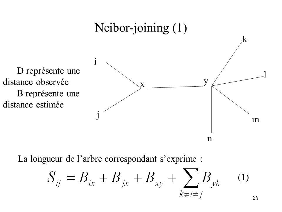 28 Neibor-joining (1) i j n m l k x y D représente une distance observée B représente une distance estimée La longueur de larbre correspondant sexprim