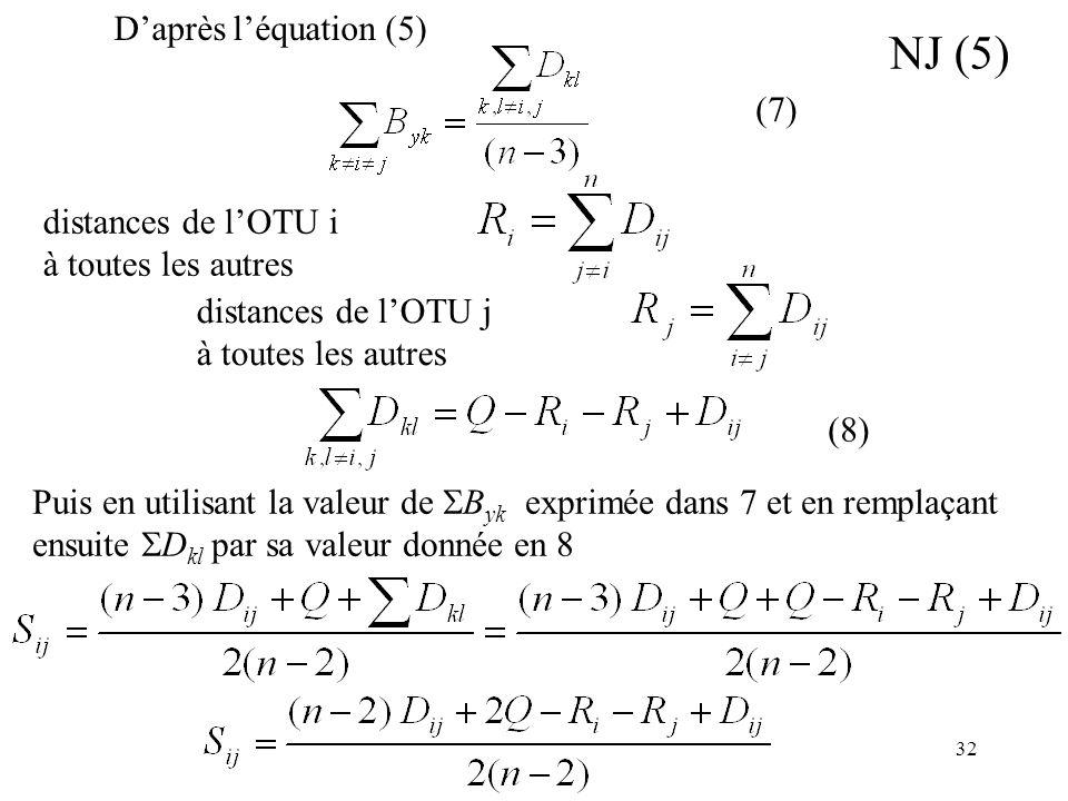 32 Puis en utilisant la valeur de B yk exprimée dans 7 et en remplaçant ensuite D kl par sa valeur donnée en 8 NJ (5) Daprès léquation (5) distances d