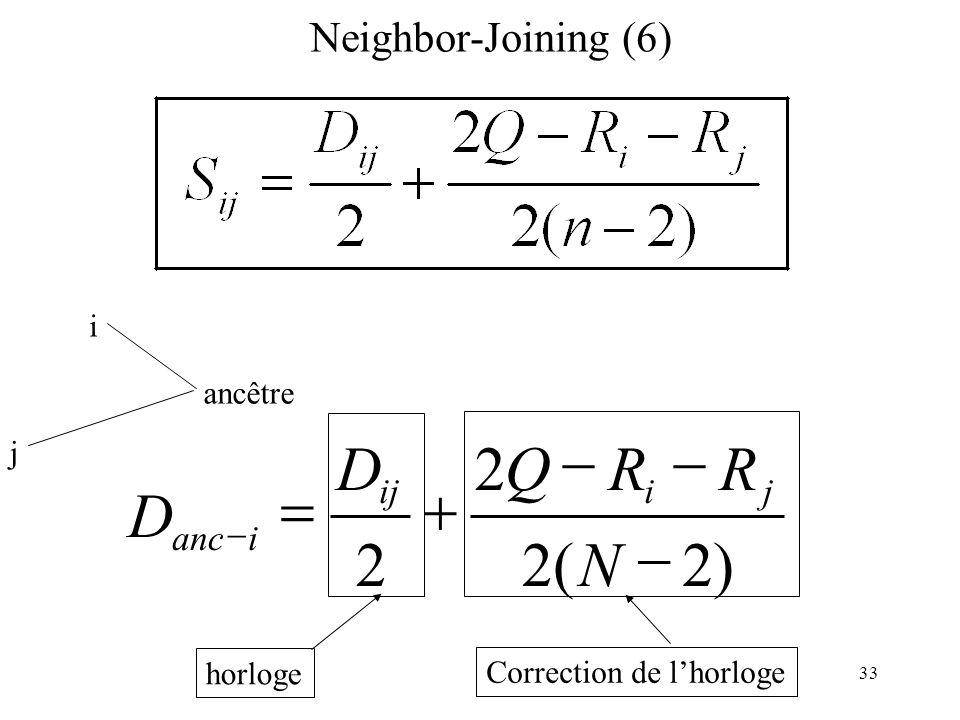33 Neighbor-Joining (6) i j ancêtre D ianc 2 D ij horloge )2(2 2 N RRQ ji Correction de lhorloge