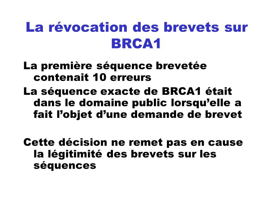 La révocation des brevets sur BRCA1 La première séquence brevetée contenait 10 erreurs La séquence exacte de BRCA1 était dans le domaine public lorsqu