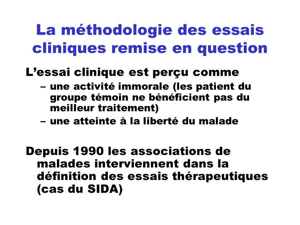 La méthodologie des essais cliniques remise en question Lessai clinique est perçu comme –une activité immorale (les patient du groupe témoin ne bénéfi