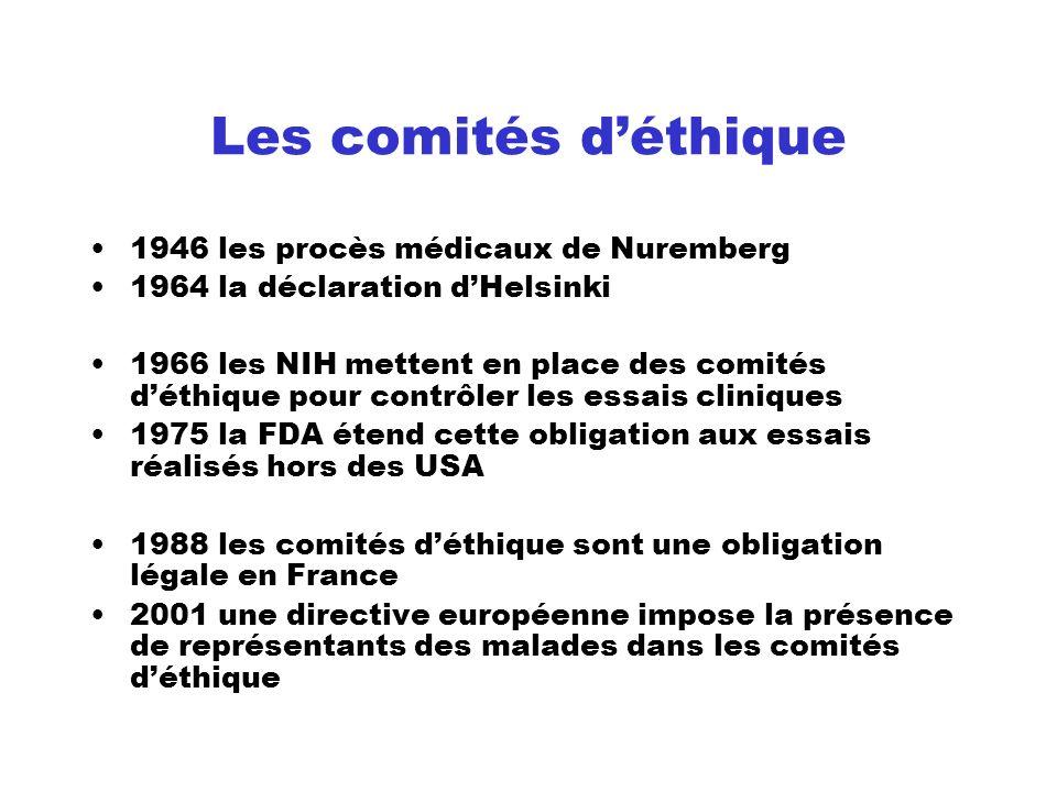 Les comités déthique 1946 les procès médicaux de Nuremberg 1964 la déclaration dHelsinki 1966 les NIH mettent en place des comités déthique pour contr