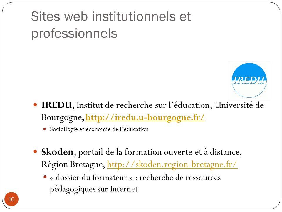 Sites web institutionnels et professionnels IREDU, Institut de recherche sur léducation, Université de Bourgogne, http://iredu.u-bourgogne.fr/http://i