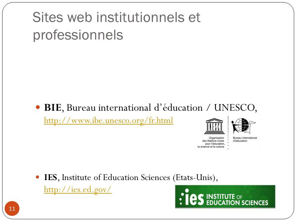 Sites web institutionnels et professionnels BIE, Bureau international déducation / UNESCO, http://www.ibe.unesco.org/fr.html http://www.ibe.unesco.org
