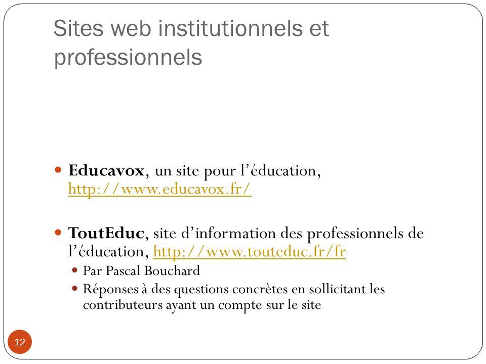 Sites web institutionnels et professionnels Educavox, un site pour léducation, http://www.educavox.fr/ http://www.educavox.fr/ ToutEduc, site dinforma