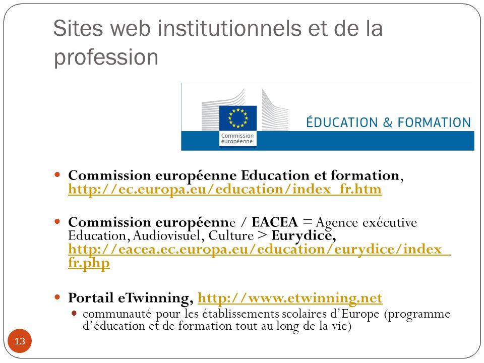 Sites web institutionnels et de la profession Commission européenne Education et formation, http://ec.europa.eu/education/index_fr.htm http://ec.europ