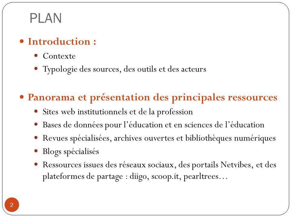 PLAN Introduction : Contexte Typologie des sources, des outils et des acteurs Panorama et présentation des principales ressources Sites web institutio