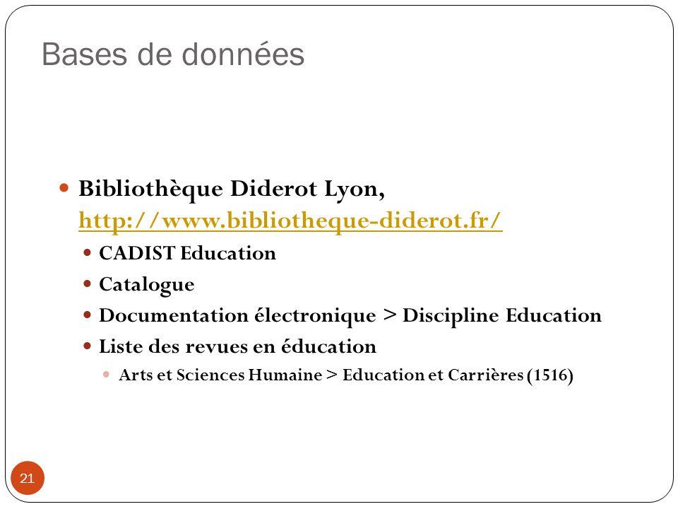 Bases de données Bibliothèque Diderot Lyon, http://www.bibliotheque-diderot.fr/ http://www.bibliotheque-diderot.fr/ CADIST Education Catalogue Documen