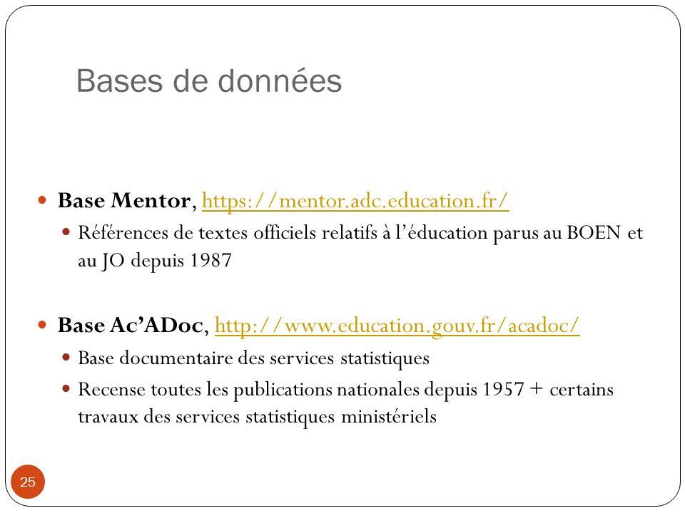 Bases de données Base Mentor, https://mentor.adc.education.fr/https://mentor.adc.education.fr/ Références de textes officiels relatifs à léducation pa