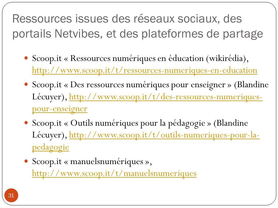 Ressources issues des réseaux sociaux, des portails Netvibes, et des plateformes de partage 31 Scoop.it « Ressources numériques en éducation (wikirédi