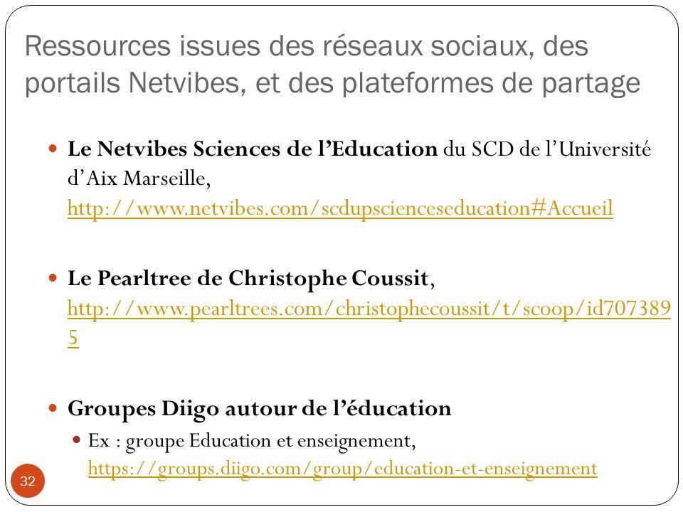 Ressources issues des réseaux sociaux, des portails Netvibes, et des plateformes de partage 32 Le Netvibes Sciences de lEducation du SCD de lUniversit