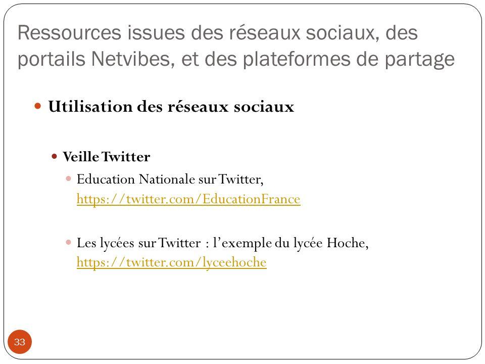 Ressources issues des réseaux sociaux, des portails Netvibes, et des plateformes de partage 33 Utilisation des réseaux sociaux Veille Twitter Educatio