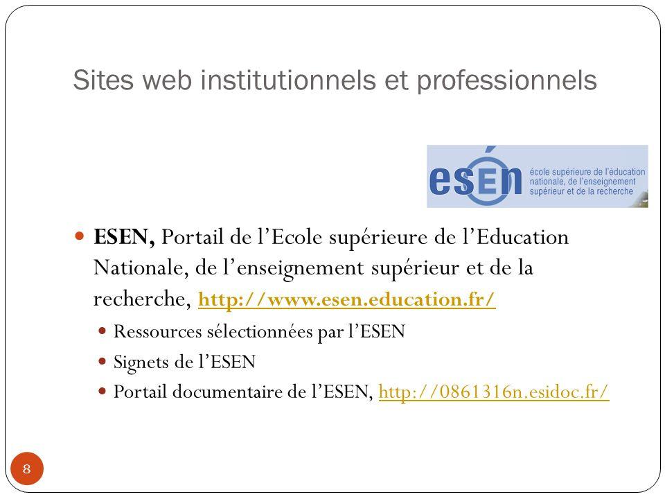 Sites web institutionnels et professionnels ESEN, Portail de lEcole supérieure de lEducation Nationale, de lenseignement supérieur et de la recherche,