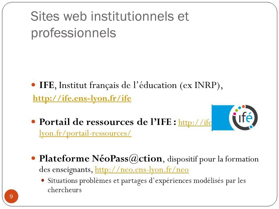 Sites web institutionnels et professionnels IFE, Institut français de léducation (ex INRP), http://ife.ens-lyon.fr/ife Portail de ressources de lIFE :